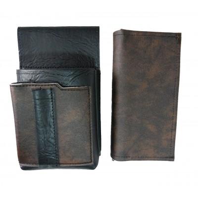 Koženkový set - peňaženka (čierno-hnedá, 2 zipsy) a vrecko s farebným prvkom