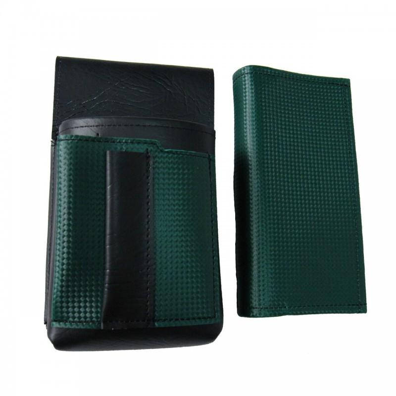 Koženkový set - peňaženka (tmavo zelená, 2 zipsy) a vrecko s farebným prvkom
