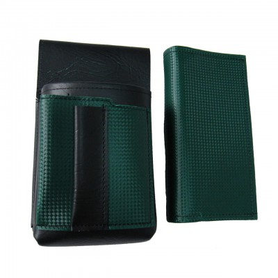 Artificial leather set - moneybag (dark green) and pouch with a colour element
