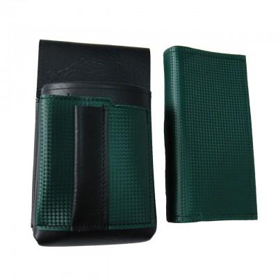 Kunstlederset - Brieftasche (dunkelgrün, 2 Reißverschlüsse) und Futteral mit einem farbigen Element