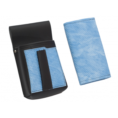 Artificial leather set - moneybag (grooved, blue, 2 zippers) and pouch with a colour element