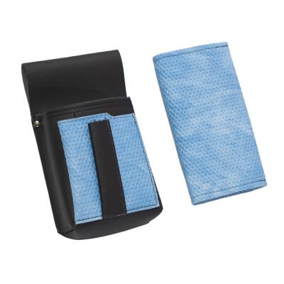Kunstlederset - Brieftasche (gezackt, blau) und Futteral mit einem farbigen Element