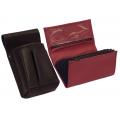 Kožený komplet :: peňaženka (červená) + púzdro