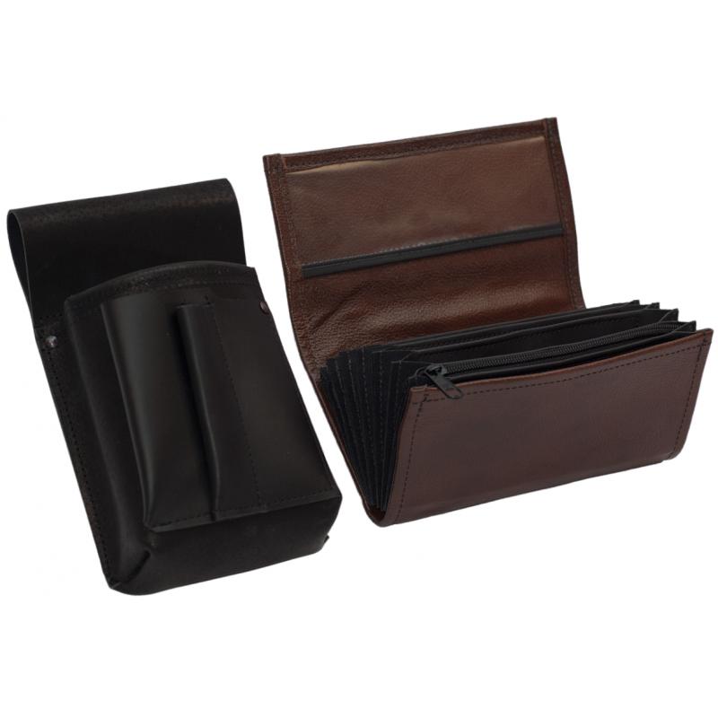 Lederkomplett :: Brieftasche (braun) + Kellnertasche