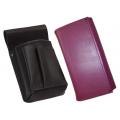Kožený komplet :: peňaženka (fialová) + púzdro