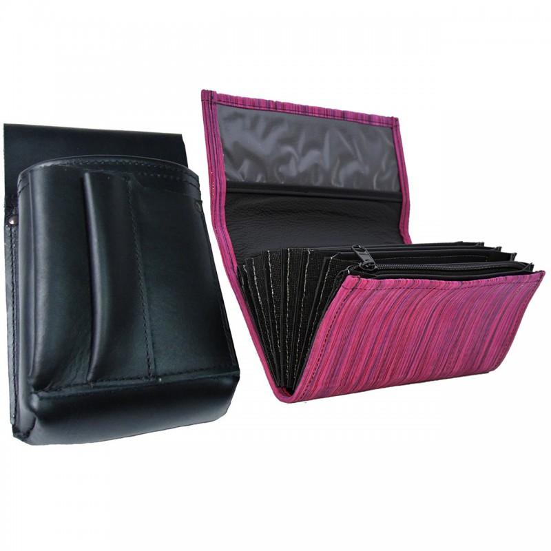 Kožený komplet :: kasírka (ružová prúžky) + púzdro