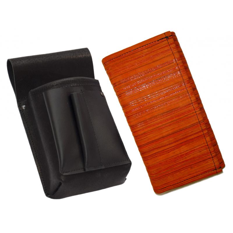 Kožený komplet :: kasírka (oranžová prúžky) + púzdro