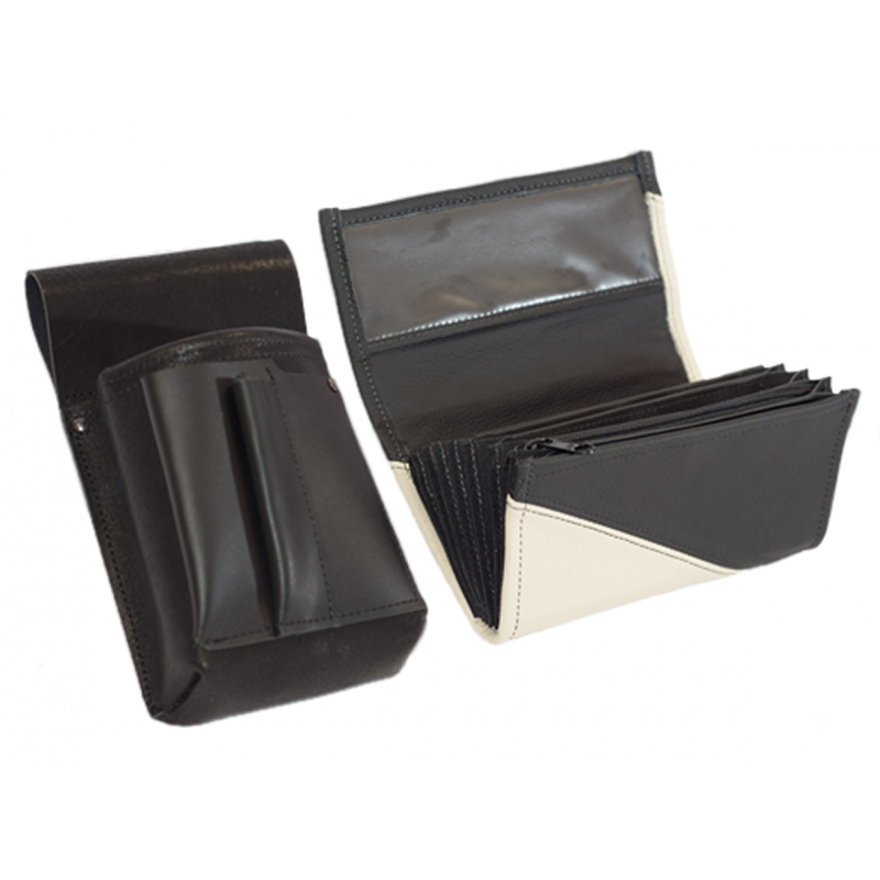 Leather set :: pocketbook (white/black) + holster