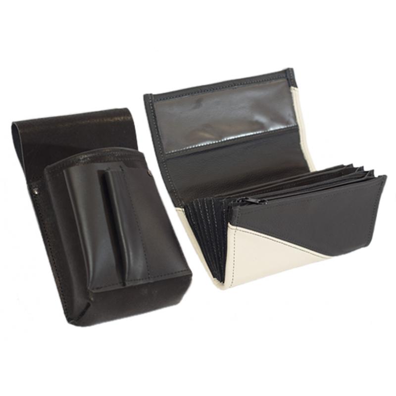 Leather set :: pocketbook (white/black) + holster