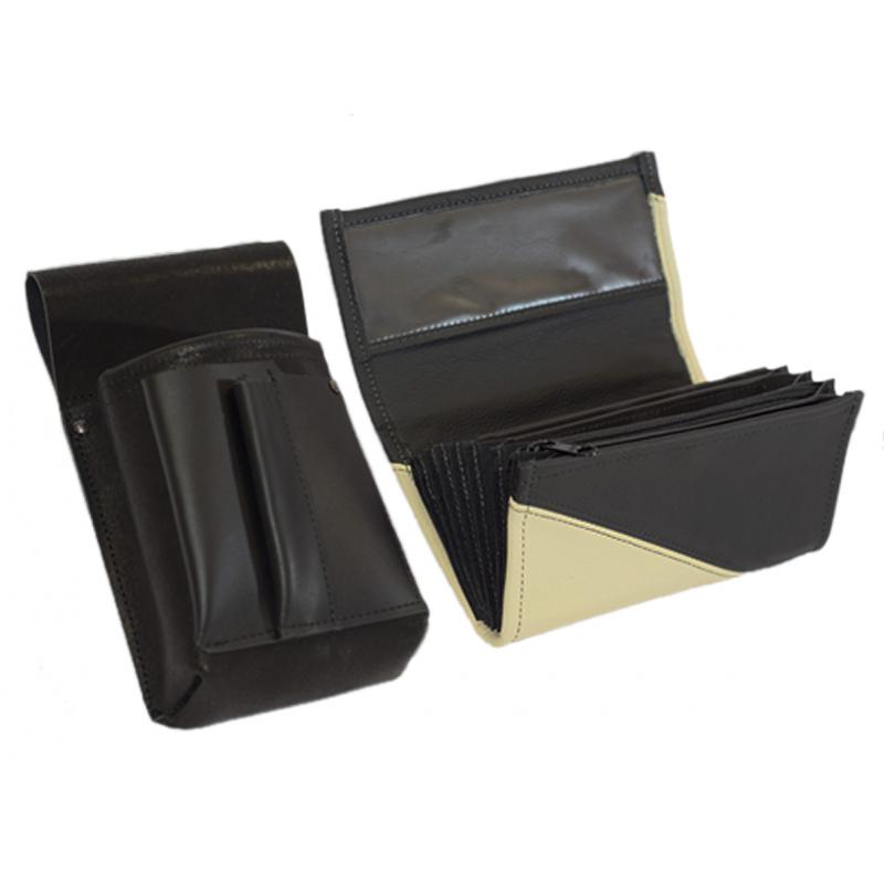 Kožený komplet :: peňaženka (slonová kosť/čierna) + púzdro