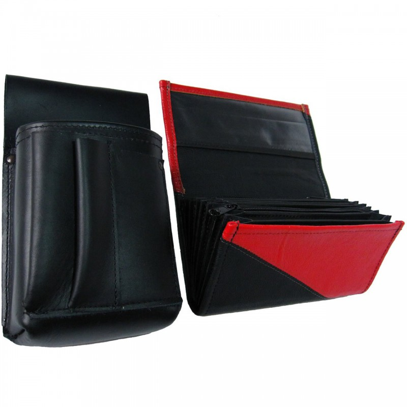 Kožený komplet :: peňaženka (červená/čierna) + púzdro