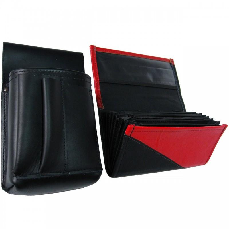 Lederkomplett :: Brieftasche (rot/schwarz) + Kellnertasche