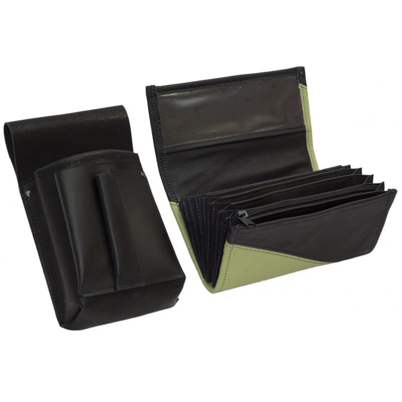 Kožený komplet :: peňaženka (olivovo zelená/čierna) + púzdro
