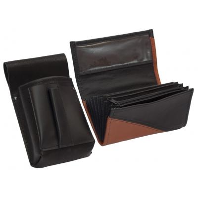 Kožený komplet :: peňaženka (terakota/čierna) + púzdro