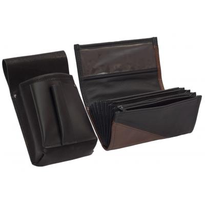 Kožený komplet :: peňaženka (hnedá/čierna) + púzdro