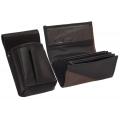 Lederkomplett :: Brieftasche (braun/schwarz) + Kellnertasche