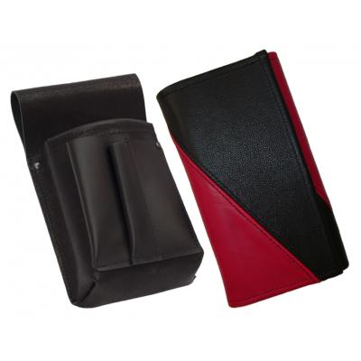 Lederkomplett :: Brieftasche (rosa/schwarz) + Kellnertasche