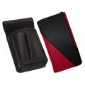 Kožený komplet :: peňaženka (ružová/čierna) + púzdro