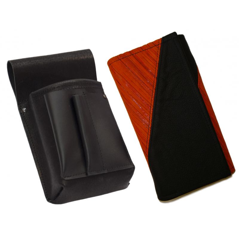 Lederkomplett :: Brieftasche (orangen Streifen/schwarz) + Kellnertasche