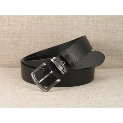 00 Jeans Leather Belt - black without stitching