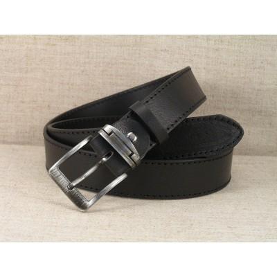 01 Kožený opasek Jeans - černý s prošitím