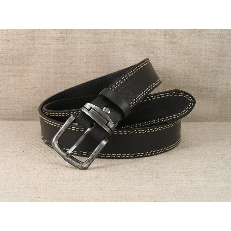 02 Kožený opasek Jeans - černý s dvojitým prošitím