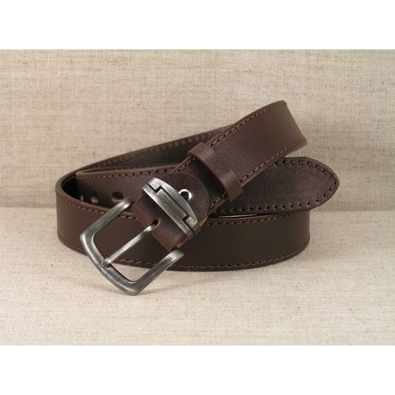 01 Jeans Leather Belt - brown with stitching