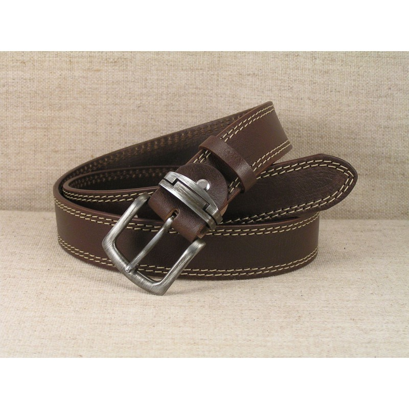 02 Jeans Leather Belt - brown with double stitching