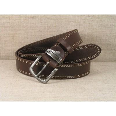 02 Kožený opasok Jeans - hnedý s dvojitým prešitím