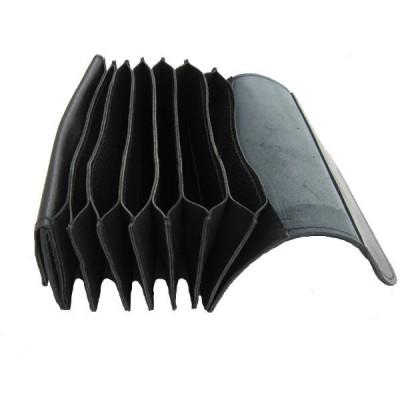 Ganzleder-Kellnergeldtasche nach der Art Harmonika - schwarz
